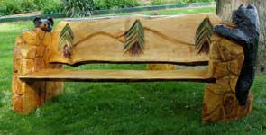 Bench with Pine Tree Back
