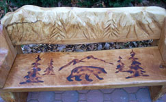 Bench with Carved Mountains & Bear Stencil