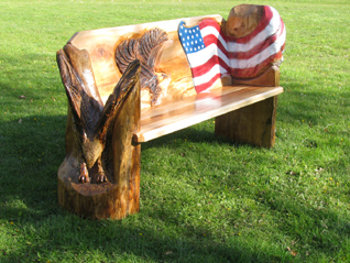 Bench with Eagles & American Flag