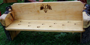 Bear Bench with Pine Cone & Paw Prints